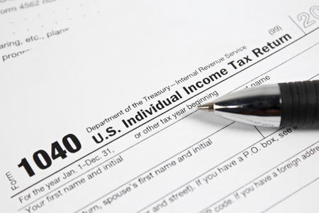 US tax form 1040 taxation concept
