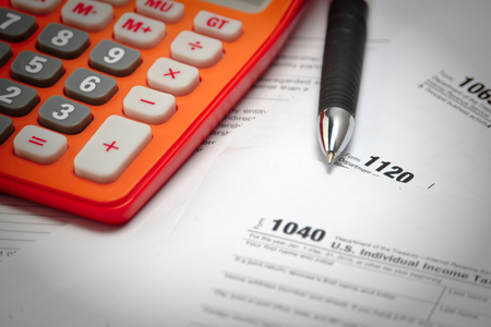 tax form: US tax form 1040 taxation concept