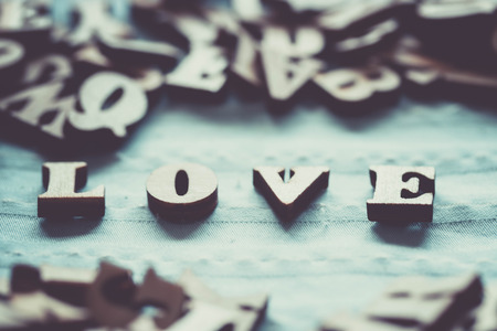Wooden letters love concept Valentine.