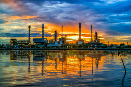 oil and gas industry: Oil refinery in sunrise Stock Photo