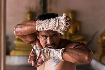 Close up of Ancient Muay Thai Martial Arts freehand dangerous.