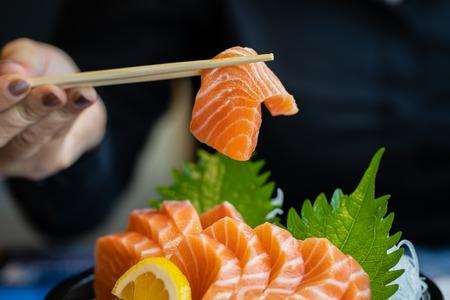 Salmon sliced meat