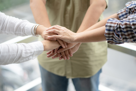 Human hands were a collaboration concept of teamwork business trust group of people