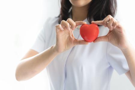 Nurse showing heart model in hospital Stock Photo