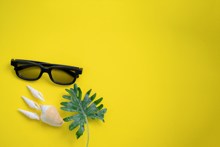 Concept of Summer on yellow background Stock Photo