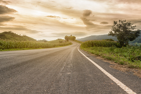 country road in the evening Stock Photo