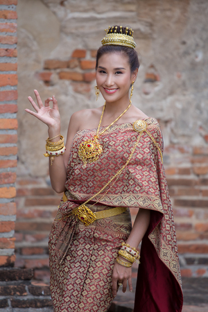 Beautiful Thai woman in national costum