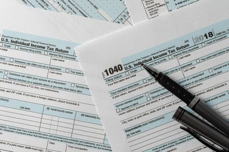 US tax form 1040 background for taxation concept finance and  business Imagens