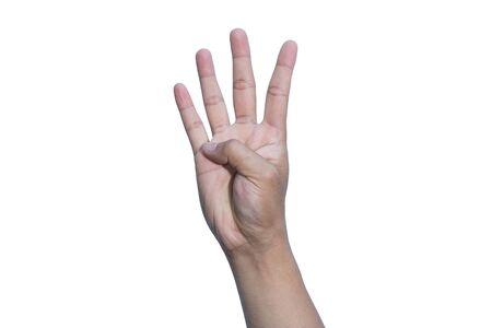 Hand on white background