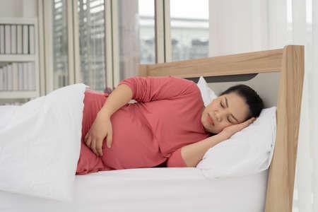 Pregnant women are sleeping