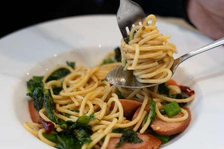 Close up of Stir Fried Spaghetti 免版税图像