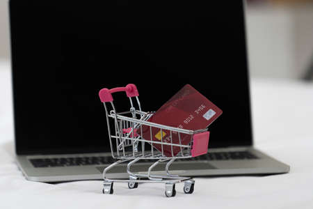 Credit card in shopping cart There is a notebook in the background. Online shopping concept e-commerce Internet business