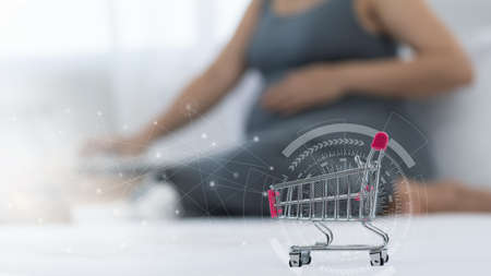 Internet shoopping online and ecommerce concept.pregnant are shopping baby products from online shop. 免版税图像