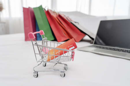 Credit card in shopping cart.Blockchain finance web money business concept.