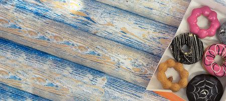 Donut on wooden background sweet food 免版税图像