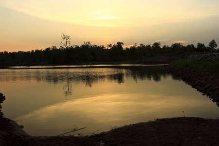 Cement Dam sunset Wang Nong Ka Tao in Thailand photo