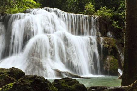 kanchanaburi: Called Huai Mae Kamin Waterfall, Kanchanaburi is Thailand. Stock Photo
