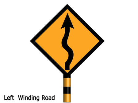 Signs that the path is winding simmer very careful driving in your car. photo