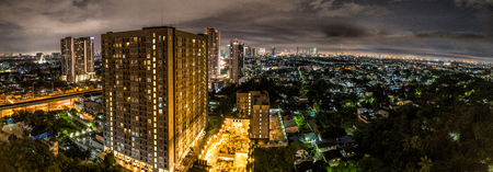 Panorama of Bangkok City Scene during night