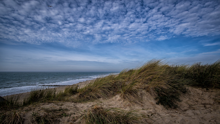 Beautiful view on dark and blue cloudy sky near Vlissingen, Zeeland, Holland, Netherlands