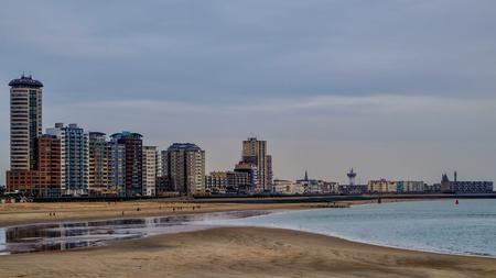 City beach and huge blocks in the city of Vlissingen, Zeeland, Holland / Netherlands