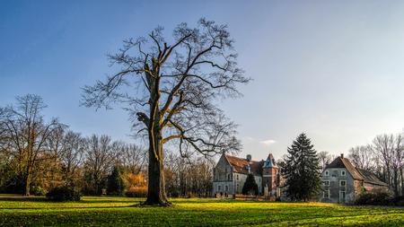 Senden, Coesfeld, Musterland December 2017 - Watercastle moated castle sending during sunny day in winter