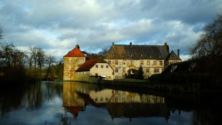 Historic Water Castle Schloss Tatenhausen in Kreis Guetersloh, North Rhine-Westphalia, Germany Editorial