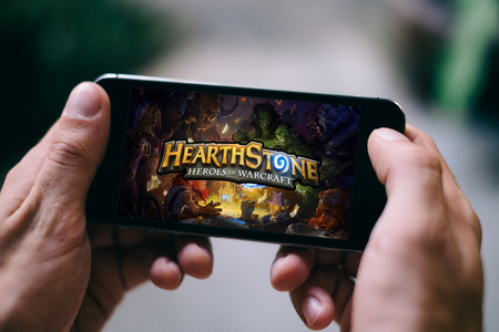 COLOGNE, GERMANY - FEBRUARY 27, 2018: Hearthstone App Game played on Apple iPhone