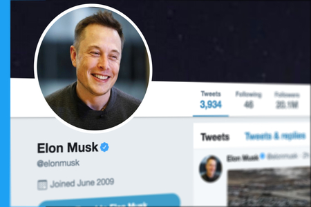 KRABI, THAILAND - MARCH 08, 2018: Closeup of Elon Musk Twitter Profile and Picture