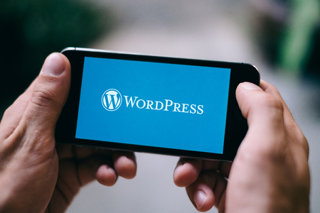 COLOGNE, GERMANY - MARCH 10, 2018: Closeup of iPhone screen showing Wordpress logo