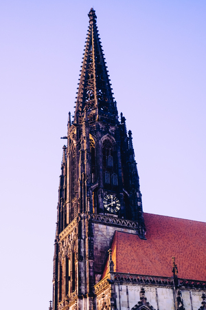 Close up of the church tower of the Ludgerikirche in Münster, Westphalia, Germany