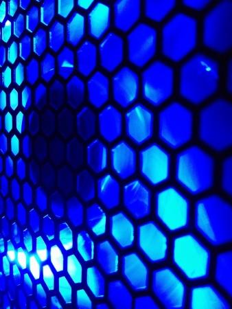 bezel: Blue LED computer case fan  Stock Photo