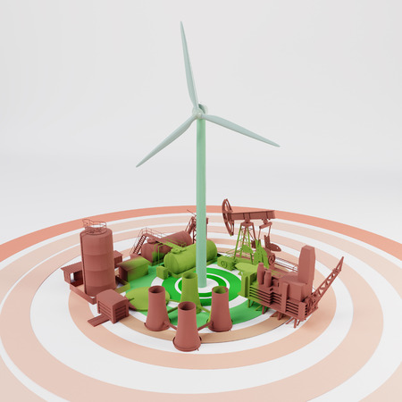 Wind Renewable Energy Expansion 3D rendering Stock Photo