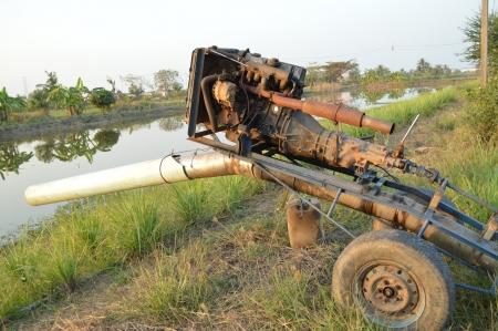 cultivator: Pump water in field rice Thailand