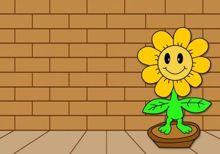 sun flower Front of a brick wall