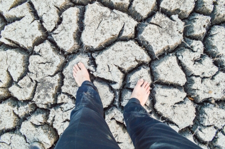 tread Dry and cracked earth  photo