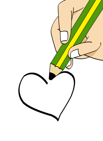 use pencil draw the heart shaped  photo