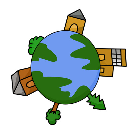 Earth globe with buildings