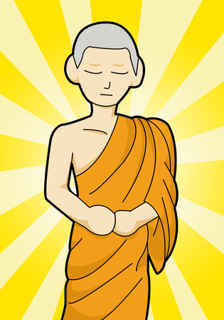 Buddhist monk cartoon illustration illustration