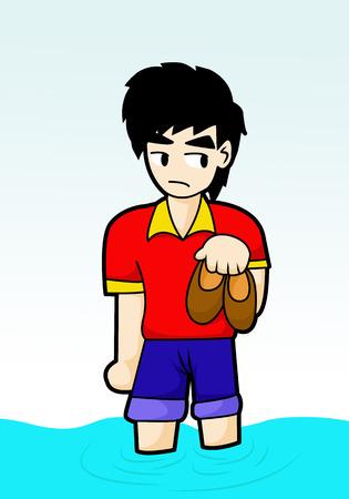 Man lopen in cartoon overstroming