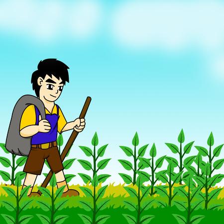 牧草地に出て男します。 写真素材