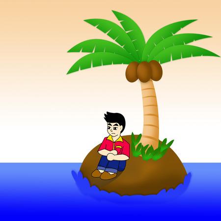 one man: one man on island in sea Stock Photo