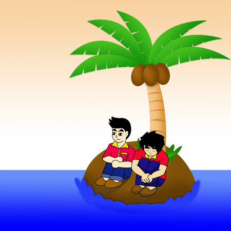 two man on island in sea photo