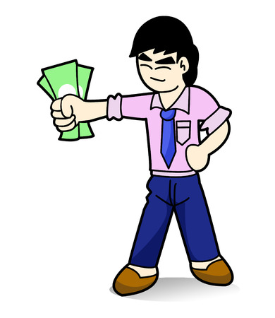 Man hold Money cartoon