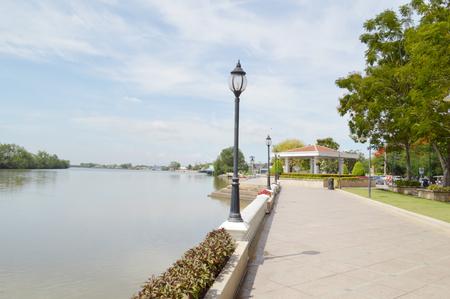 chachoengsao: Waterfront walkway at chachoengsao Stock Photo