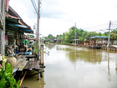 klong: Klong Suan river in chachoengsao, thailand Stock Photo