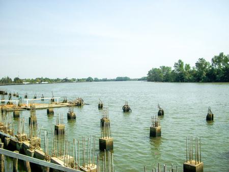 cement posts riverside Bang Pra Kong River