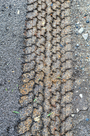 wheel track on soil  photo