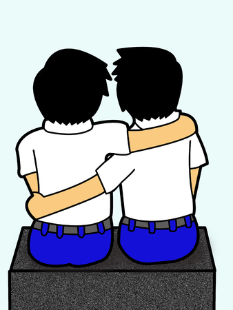 artoon: backside boys student hug artoon Stock Photo
