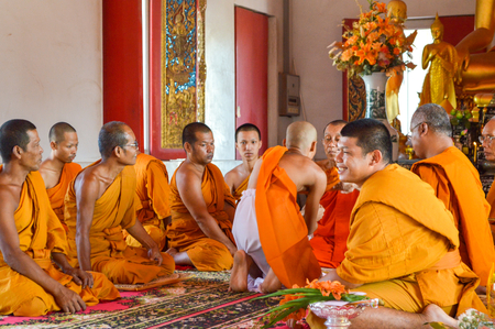 ordination: Ordination in temple Chachoengsao, Thailand  Editorial